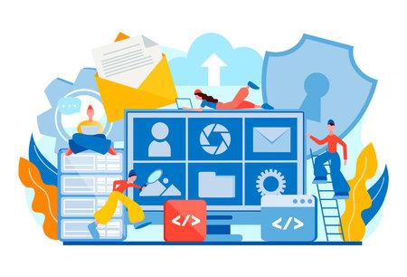 Data center Digital privacy Data management Network server Protection Storage. Tiny people Teamwork Database security 向量圖像