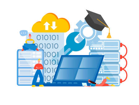 Programming courses. Programming education. Programmers training work on software, data storage and information security. Stock Illustratie