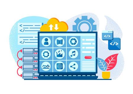 Application software Blog Image Vector Illustration. Cloud storage, Information security, Information exchange, Cloud Services and Solution. 向量圖像