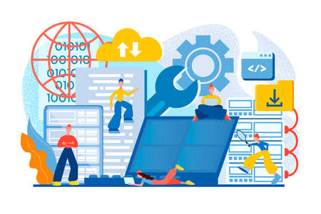 Data center. Cloud storage. Analytics and management. Technical support. Programmers tiny people ensure efficient operation, data center and cloud security. 向量圖像