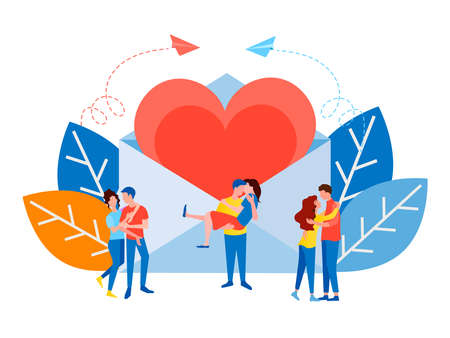 Couple of young lovers on the background of an envelope with a big heart Be my Valentine, love, marriage proposal concept vector illustration 向量圖像