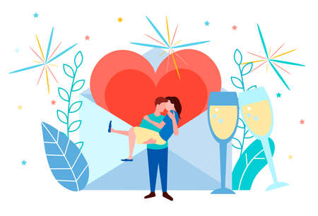 Young couple on a date, Valentine's Day, marriage proposal, love message concept Vector Illustration 向量圖像
