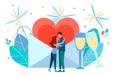 Couple of young lovers, fireworks and envelope with a big heart inside Be my Valentine, falling in love, marriage proposal concept vector illustration