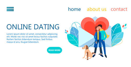 Online dating service concept vector illustration. Web page design templates for romantic meeting, dating website.