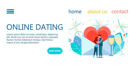 Online dating website template design, landing page. Vector illustration concept for meeting website of online dating Stock Illustratie