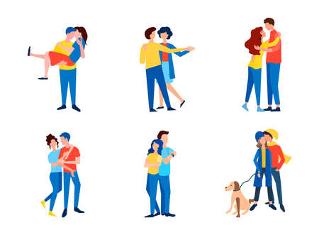 A set of vector images of couples in love dancing, hugging, chatting in a relaxed atmosphere. Can be used for web page design, social media, mobile application content