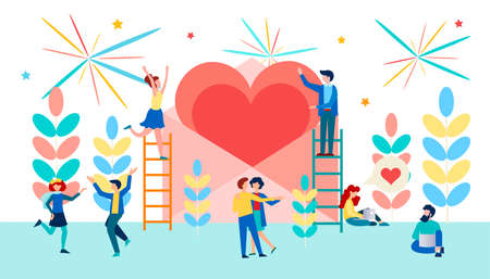 Couples in love dancing, hugging, chatting in a relaxed atmosphere. Dating and Valentine's Day celebration. Online dating. Modern vector illustration concepts for website and social media.