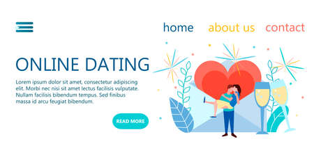 Web landing page design templates for dating romantic meetings website, online dating, finding a partner and soul mate 向量圖像
