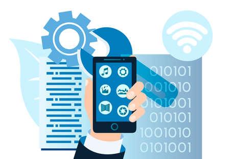 Mobile applications, modern information computer technology, file storage concept Vector illustration