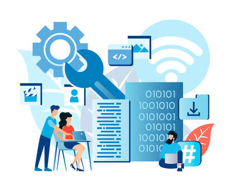 Programming skills, data center services, data storage, global network connections, programming education, software customization, help from programmers and web developers Vector illustration
