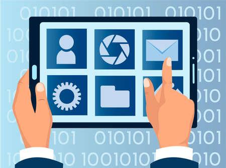 Laptop applications, modern computer technology, file storage concept Vector illustration