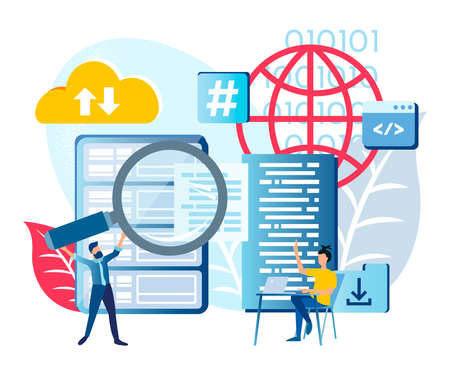 Global cloud computing, Data services, File storage security concept Vector illustration Vectores