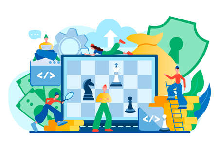 Storage software strategy, web security, cloud technology concept with chess game on computer screen. Vector illustration.