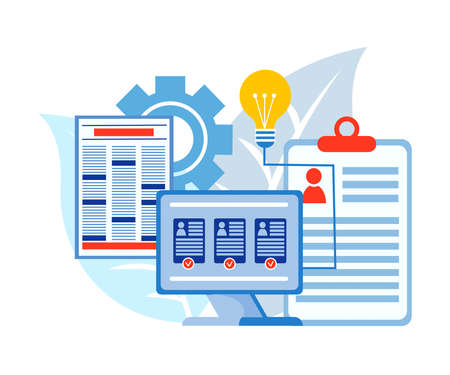 Placement of resume and search for employees online, questioning and headhunting through the media We are hiring concept Vector illustration 向量圖像
