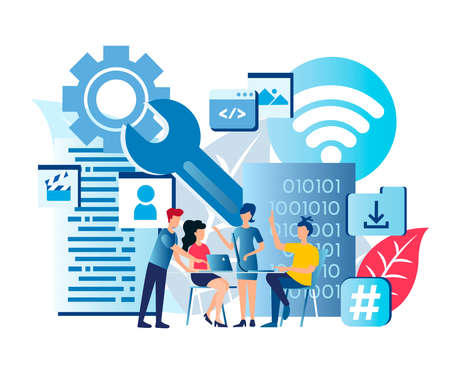 Technical support Center Hotline Call Center Modern technologies to Support Network Users Vector Illustration Stock Illustratie
