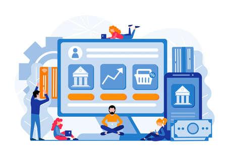 Online banking, deposit management, financial management, bank deposit, online payment concept Vector illustration