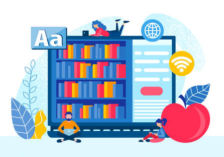 Online education, language courses, tiny people are looking for educational information, study remotely. Remote online education vector illustration.