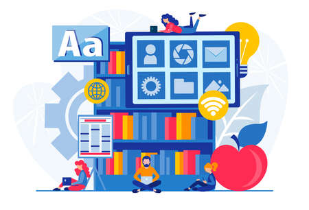 Online distance learning, education at home, e-books and information technology. Tiny people students study on the Internet Concept Vector illustration Stock Illustratie