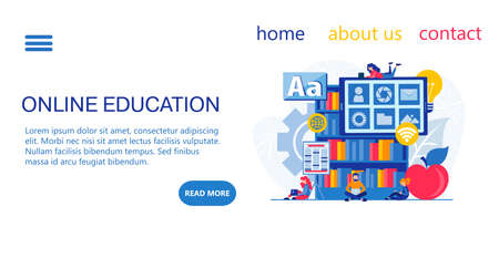 Landing page design Online education, training, learning, webinars. Tiny students study on the Internet.