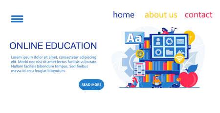 Landing page design Online education, training, learning, webinars. Tiny students study on the Internet.