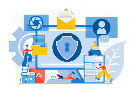Data center security. Protect visual contents concept, safe social networking service and streaming video. Safe communication network. Stock Illustratie