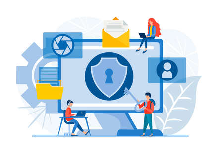 Protect Data Center. Safe communication network. Safe cloud computing. High security while using internet. Cybersecurity Digital Technology Concept vector illustration