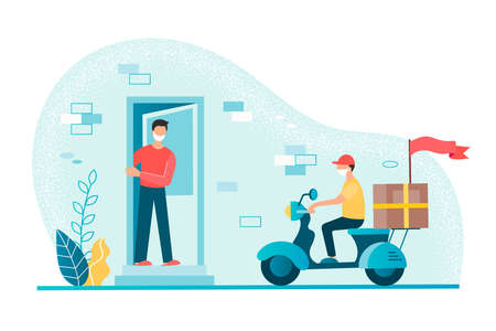 Contactless delivery concept. Young man at the door of his house awaits a parcel delivered by a courier on a scooter. Concept vector illustration.