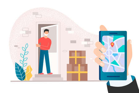 Contactless delivery Concept vector illutration A man in a face mask on the doorstep of a house meets boxes with purchases left by contactless delivery Stockfoto