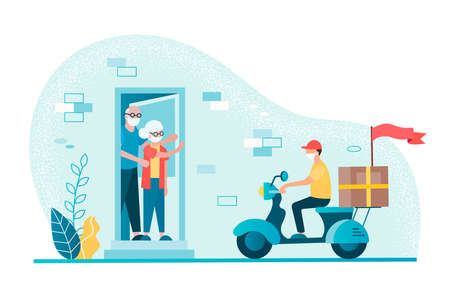 Contactless delivery concept. An elderly couple at the door of their house awaits a parcel delivered by a courier on a scooter. Concept vector illustration.