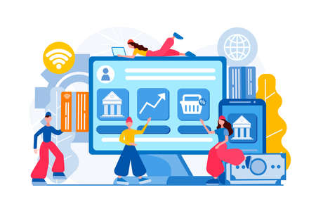 Banking operations, investments, online banking Finance services. Financial transaction. E-commerce and e-payment. Concept vector illustration. 向量圖像