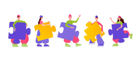 Buiness teamwork, cooperation, partnership concept. Tiny people connecting puzzle elements. Vector illutration 向量圖像
