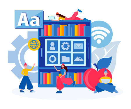 Library of electronic files, online education, online library, file storage Concept Vector illustration 向量圖像