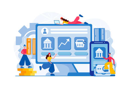 Finance and Internet banking Concept Vector Illustration Computer software for financial transactions and online banking