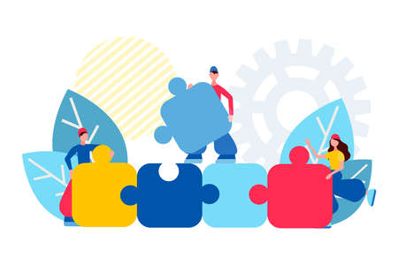 Teamwork concept vector illustration Business team holding and make puzzle elements. People connecting jigsaw pieces vector illustration. Working together, unity concept. Stock Illustratie