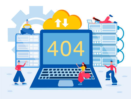 Programmers are working to fix a bug in the software Webpage 404. Error 404 Concept vector illustration 向量圖像