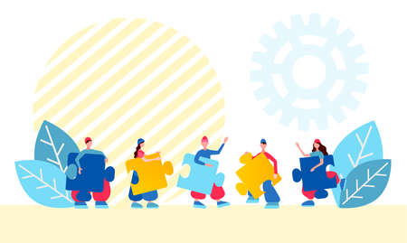 People collect jigsaw puzzles as a symbol of teamwork Concept vector illustration
