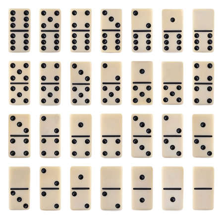 Set of domino tiles on white background, top view Stock Photo