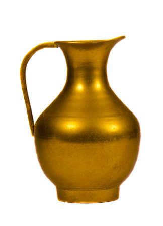 elegant brass jug on isolated white Stock Photo - 11327066