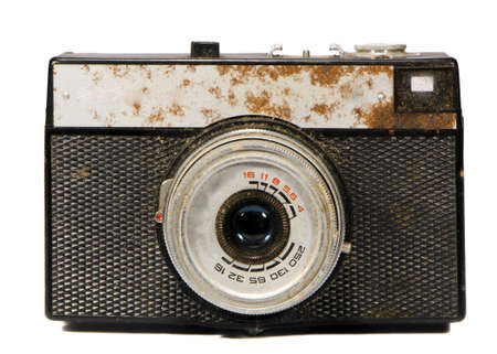 analogical: old isolated on white  and rusted analogical camera