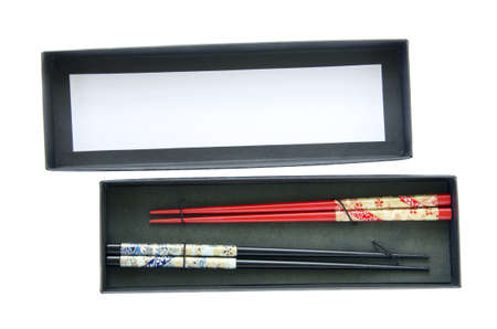 isolated chinese chopsticks in the black box photo