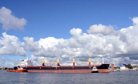 Ships in the Baltic sea port  Klaipeda, Lithuania