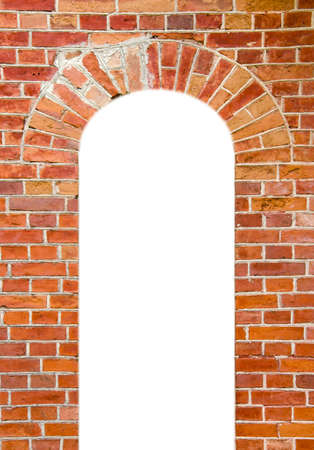 red bricks wall background with isolated window hole photo