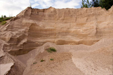sand quarry: industrial sand quarry fragment and sky