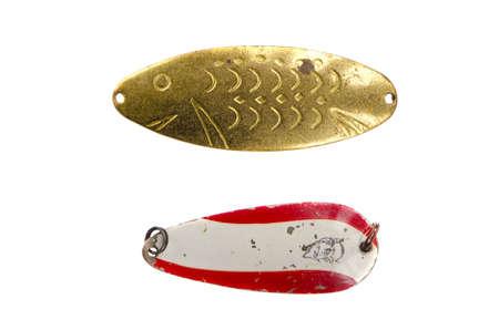 isolated on white  two retro spoon-baits Stock Photo - 11961917