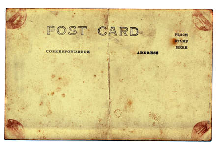 isolated on white old and grungy postcard background