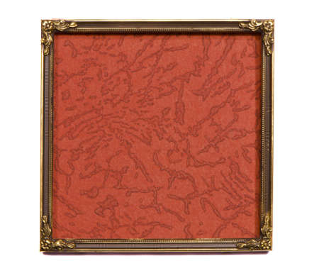 isolated on white ancient brass frame with old background Stok Fotoğraf