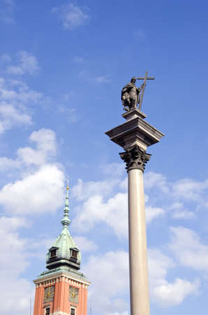 Poland capital Warsaw monument and king palace tower photo