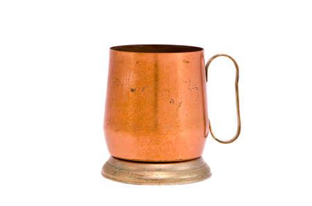 isolated on white copper mug souvenir Stok Fotoğraf