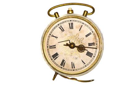 isolated on white old alarm clock photo