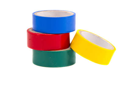 sellotape: isolated on white four colorful insulating tapes